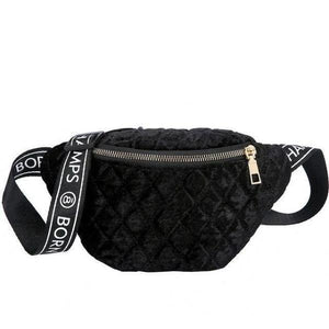 women black fanny pack belt bag waist fashion purse velvet