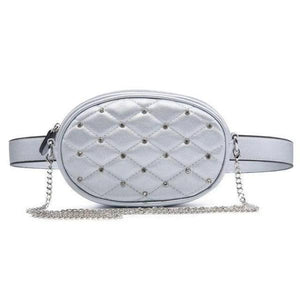 Silver Cute leather fanny packs with crossbody chain strap