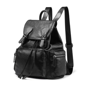 Black rucksack leather backpack womens