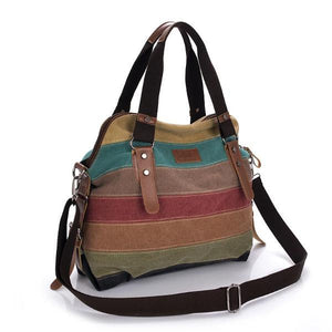canvas patch work crosbody shoulder bag