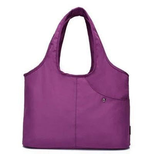 Purple nylon tote bag waterproof umbrella compartment