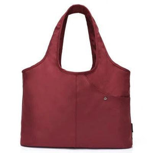 Wine red nylon tote bag waterproof umbrella compartment