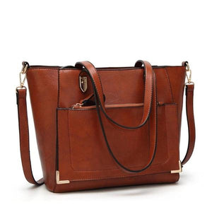 Brown leather tote with shoulder strap