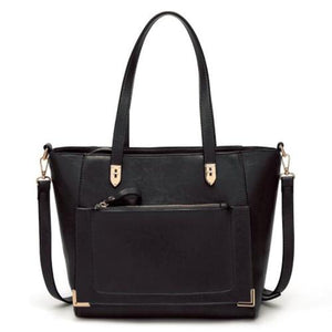 Black tote bag with front zip pocket