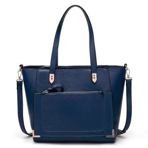 Blue tote bag with front zip pocket