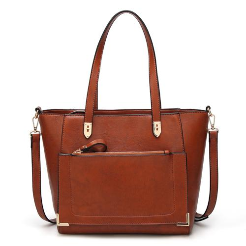 Brown tote bag with front zip pocket
