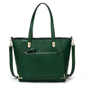 Green tote bag with front zip pocket