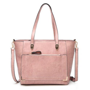 Pink tote bag with front zip pocket