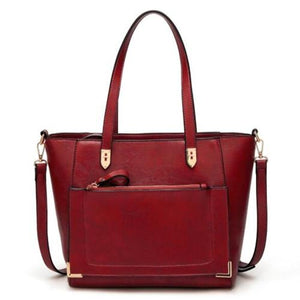 Burgundy tote bag with front zip pocket