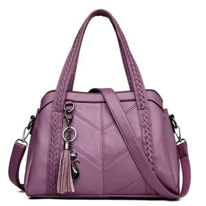 Purple leather purses with multiple compartments