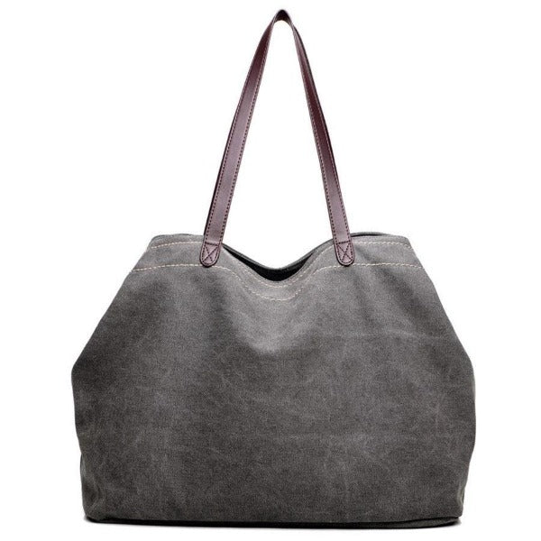Large canvas tote bags triple compartment bag grey