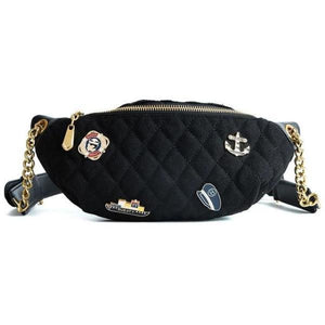 Black fanny pack with gold chain belt