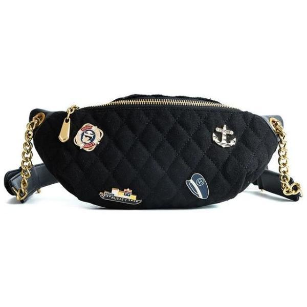 navy blue fanny pack with gold chain belt
