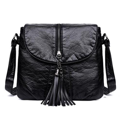 Small black leather handbag with double compartment