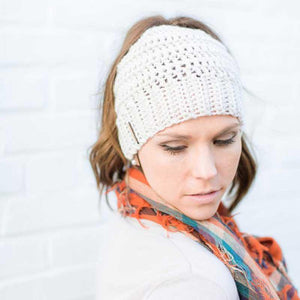 Model wearing beige Montana, Beautiful Ponytail Beanie for Women