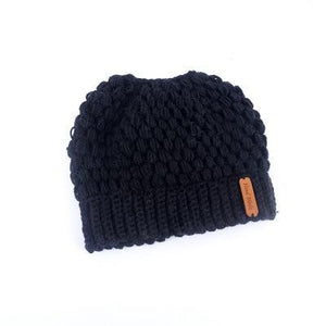 Montana, Beautiful Ponytail Beanie for Women, black