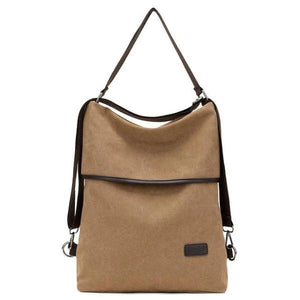 Vera, Women Multifunctional Soft Leather Backpack, khaki