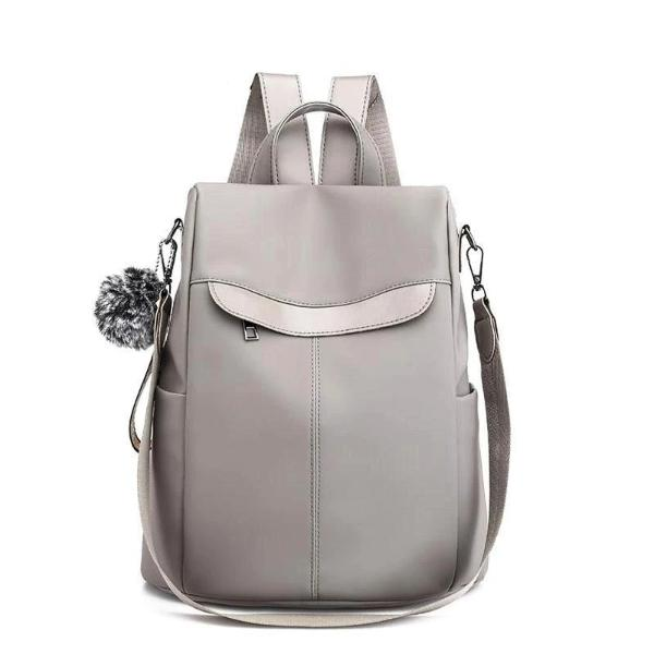 Gray women's nylon backpack