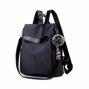 Black women's nylon backpack