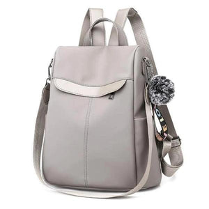 women convertible nylon backpack shoulder purse travel school  gray