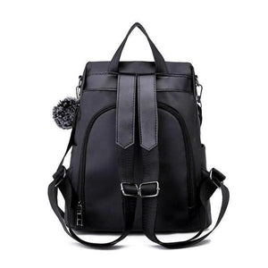 Black anti theft backpack with back opening compartment