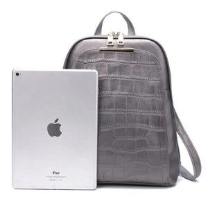 Silver leather backpack with ipad