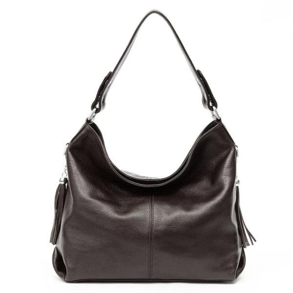 Coffe leather crossbody bag large hobo purse
