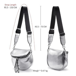silver leather bag with adjustable strap
