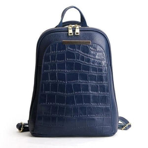 Blue alligator leather backpack with convertible strap