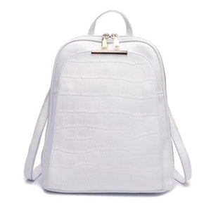 White alligator leather backpack with convertible strap
