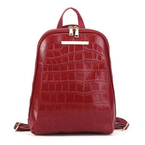 Red alligator leather backpack with convertible strap