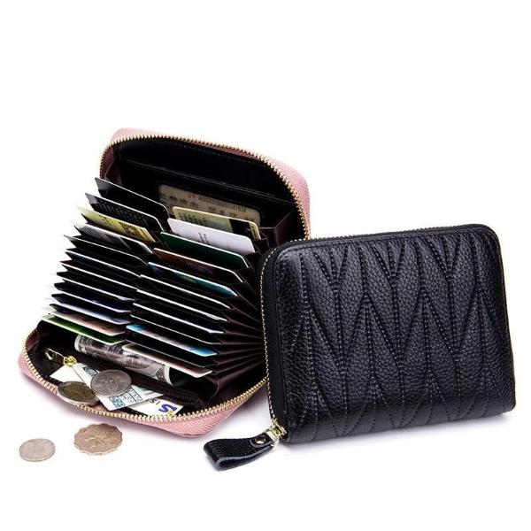 RFID Womens card holder wallet with zipper coin pocket