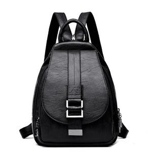 Black backpack sling bag leather women