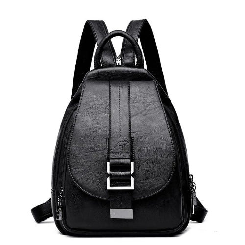 Multiple compartment sling backpack leather women