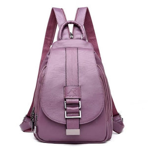 Lavender backpack sling bag leather women