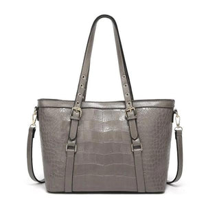 Gray tote bag with faux crocodile leather