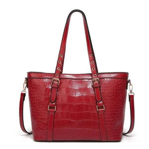 Red tote bag with faux crocodile leather