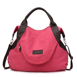 Pink canvas messenger bag women