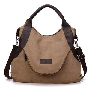 Brown canvas messenger bag women