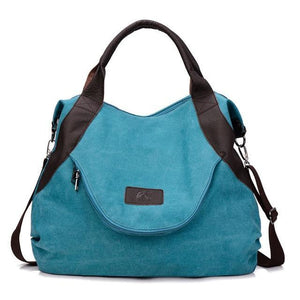 Blue canvas messenger crossbody bag women