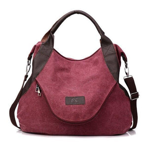 Purple canvas messenger bag women