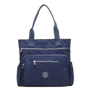 Blue waterproof tote bag with zipper