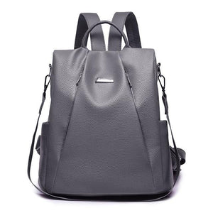 women grey leather backpack purse anti theft crossbody travel bag