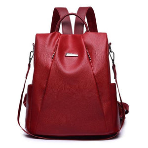 women red leather backpack purse anti theft crossbody travel bag