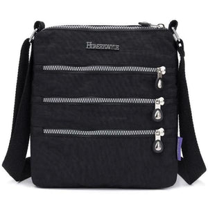 Black nylon multi pocket small crossbody bag