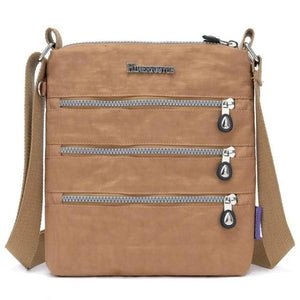 Khaki nylon multi pocket small crossbody bag