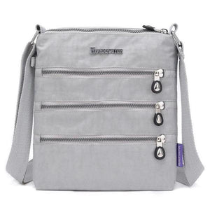 Grey nylon multi pocket small crossbody bag