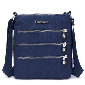 Navy blue nylon multi pocket small crossbody bag