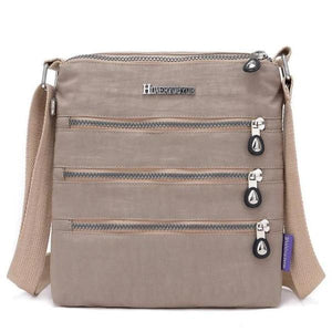 Camel nylon multi pocket small crossbody bag
