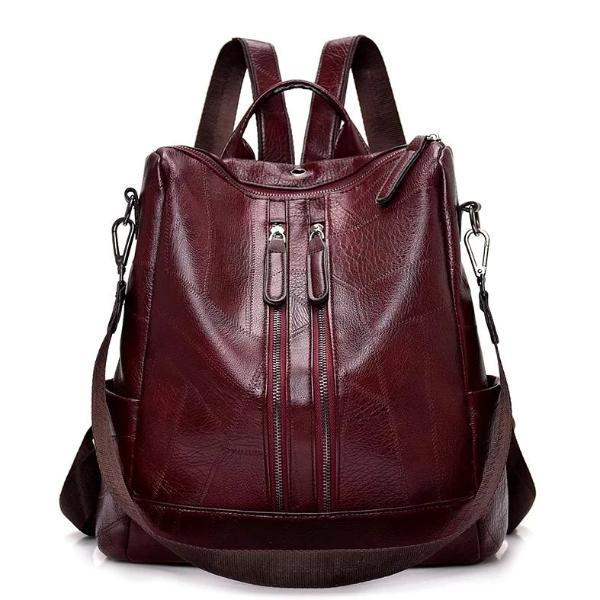 Burgundy leather backpack purse for women